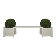 Esschert Design Planters With Bridge Bench, White