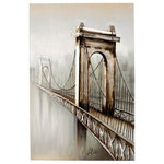 Yosemite Home Decor - Yosemite Home D'cor Original Painting: Gateway to the City, DCF259 - Yosemite Home Decor presents a stunning painting of a large bridge with the city in the distance. The grey tones of the painting offer depth and realness. The hand painted 3D effect is unique and stands out beautifully. This gorgeous painting will look amazing in any room of the home.