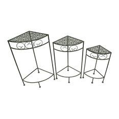 3 Piece Black Metal Nesting Corner Plant Stand Set Filigree Tops