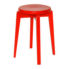 Handmade Solid Wood Retro Stool, Red Lacquer