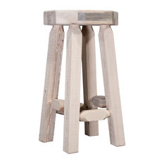 Montana Log Wood Counter Height Backless Barstool In Clear Lacquer MWHCBNV24
