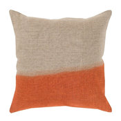 Dip Dyed Decorative Pillow, Neutral-Orange, Down Filler Square 18""
