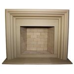 """DeVinci Cast Stone - Delano Cast Stone Fireplace Mantel, Buff - The Delano's soft curves are inspired by the Art Deco era and its glamorous cosmopolitan complexity is reminiscent of old Hollywood. Our mantels can also be installed outside, to complete your outdoor living experience. Both colors come in a smooth finish and with each mantel, we offer a color matching 3-piece hearth and 5 filler panels that can be cut on site with a tile saw, to fit your unique opening. The Delano will fit nicely on any 72"""" wall or beyond, with overall dimensions of 68"""" W x 55-3/4"""" H. Also, because this is cast stone, it is able to surround either a gas insert or wood burning firebox. Each order comes with extensive instructions and a list of what we provide and what you will need to have on hand."""