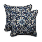 "Pillow Perfect Indoor-Outdoor Woodblock Prism Blue Throw Pillow, 18.5"", Set of 2"