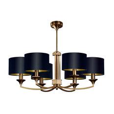 Brass Luxury Chandelier 6-Arm, Decor Fabric Shade Swarovski Crystals, Patina