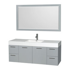 "60"" Single Vanity, Dove Gray, Acrylic Resin Top, Integrated Sink, 58"" Mirror"