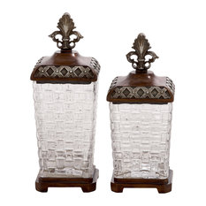 benzara beautiful and unique inspired style polystone glass jar set of 2 home decor - Decorative Glass Jars