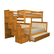 Bedz King Bunk Beds Twin over Full Stairway, 4 Step Drawers, Twin Trundle, Honey