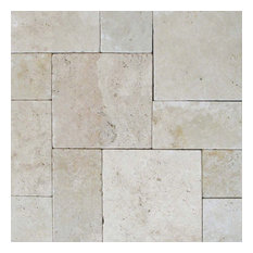 "Tuscany Beige Tumbled, Hardscaping Pavers, Travertine, Tumbled, 8""x8"", 10 Pieces"