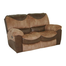 Reclining Loveseat in Saddle and Chocolate