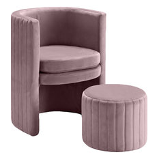 Selena 2-Piece Velvet Accent Chair and Ottoman Set, Pink