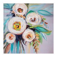 Snowy Floral Arrangement Hand Painted Canvas Wall Decor