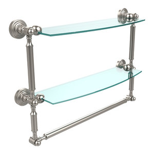 """Waverly Place Collection 18"""" Two Tiered Glass Shelf With Integrated Towel Bar"""