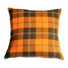"""Contemporary Plaid Orange Throw Pillow, 20"""" x 20"""""""