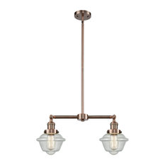 Oxford 2-Light LED Chandelier, Antique Copper, Glass: Seedy