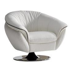 Golden Leather Swivel Armchair