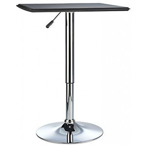 Contemporary Square Bar Table, Black Top and Variable Height Adjustment