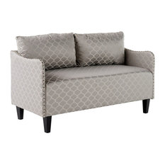 GDF Studio Palmer Studded Frame Fabric Loveseat, Gray Pattern