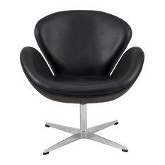 LeisureMod Swan Mid-Century Accent Armchair, Black Leather