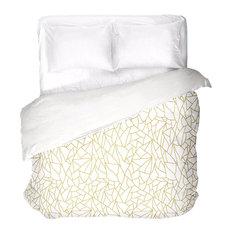 White Gold Abstract Duvet Cover, King