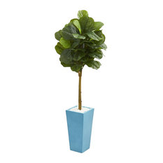 Artificial Tree -4 Foot Fiddle Leaf Tree with Turquoise Planters