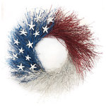 Botanical Splash - 13 Colonies - This All-American wreath is perfect for ANY summer celebration, including Memorial Day, the 4th of July and Labor Day! Composed of quail brush and 13 Sugar Starfish which represent the original 13 colonies.This wreath will give you many years of enjoyment indoors or outdoors in a protected location. All products are made by hand when you order on our Pacific Northwest farm. We grow and dry most of the ingredients used in our wreaths. Our designs are opulent, hand-made and American grown!