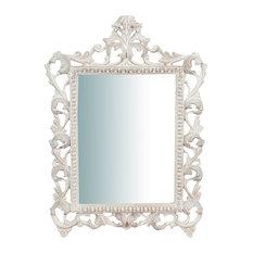 Baroque Wooden Wall Mirror, White, Rectangular, 45x60 cm