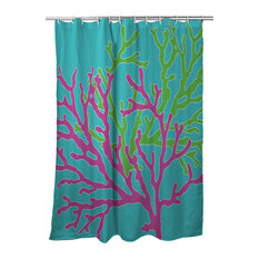 Coral Duo Shower Curtain, Pink & Green on Blue