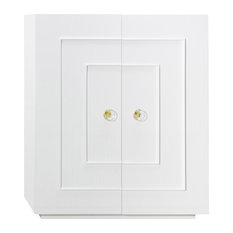 Worlds Away - Judd Two Door Dorm Cabinet With Acrylic Knobs In White Lacquer - J