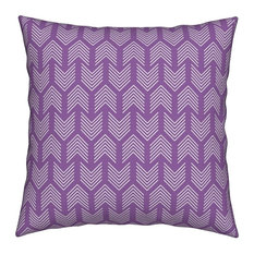 Feathers Arrow Chevron Purple And White Abstract Throw Pillow, Linen Cotton