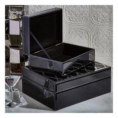 Sagebrook Home Black/Silver Boxes, Set of 2