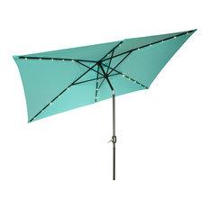 Rectangular Solar Powered LED Lighted Patio Umbrella - 10' x 6.5'