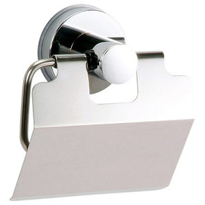 Super Suction Axis Chrome and Black Toilet Roll Holder