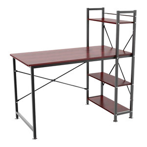 Modern Stylish Desk, MDF, 4-Tier Open Shelves, Perfect for Space Saving, Brown