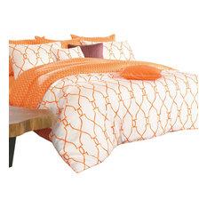 Reversible Sateen Orange And White Duvet Cover Set, King