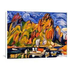 """""""Harbor Under The Midnight Sun 1937"""" Art, 30""""x24"""""""