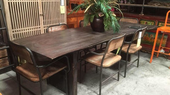 Charcoal Finish Live Edge Slab Wood Table - Sustainable Home Furnishings from De