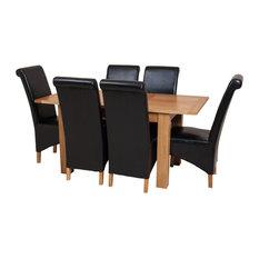 Hampton Oak Extending Dining Table, 6 Montana Chairs, Black Leather