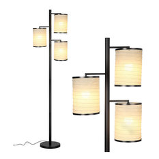 Brightech Liam - Asian Lantern Shade Tree LED Floor Lamp, Classic Black