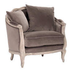 Rue Du Bac French Feather Chair, Limed Oak/Chocolate, Chair   Armchairs
