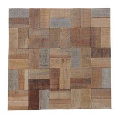 "11.81""x11.81"" Kayu Basketweave Natural Wall Tiles, Set of 6"