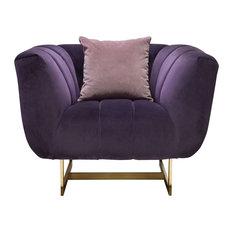 Diamond Sofa Venus Sofa, Violet Velvet, Contrasting Pillows, Gold Metal Base