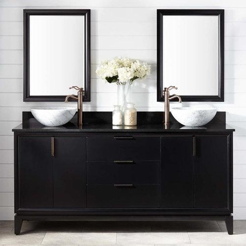 72 Talyn Mahogany Vessel Sink Double Vanity Black Bathroom Vanities And Consoles