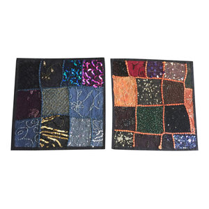 Mogulinterior - Designer Throw Pillow Sham Black Vintage Sequin Patchwork Cotton Cushion Covers - Pillowcases And Shams