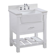 "Kitchen Bath Collection - Charlotte Bathroom Vanity, Base: White, Top: Quartz, Single Sink, 30"" - Bathroom Vanities and Sink Consoles"