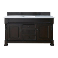 "Bay - Rialto Single Vanity, Burnished Mahogany, Snow White Quartz Top, 60"" - Bathroom Vanities and Sink Consoles"