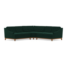 Bannister 3-Piece Sectional Sofa, Evergreen Velvet