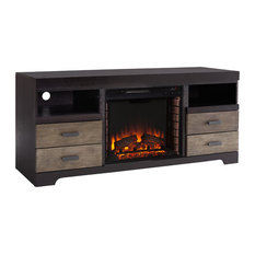 Shane Fireplace Media Console Brown And Black