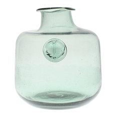 Anchor Stamped Glass Bottles, Smoke Green