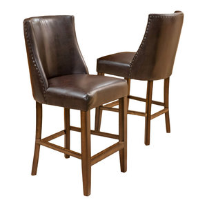 GDF Studio Rydel Nailhead Accent Brown Leather Stools, Counter Height, Set of 2